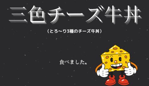 【実食】三色チーズ牛丼(とろ~り3種のチーズ牛丼)の特盛に温玉付きを食べてみました!
